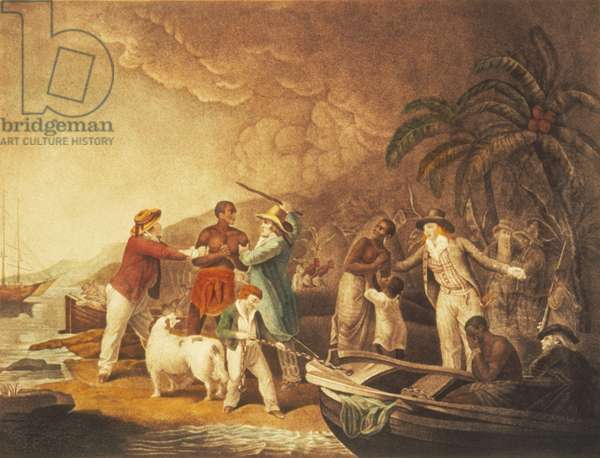 AFRICAN SLAVE TRADE Embarkation. French aquatint, 1794, after a painting, 1791, by George Morland.