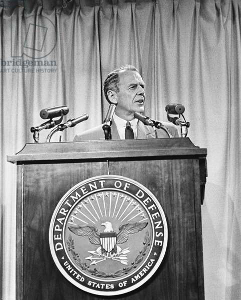 CLARK CLIFFORD (1906-1998) American lawyer and Secretary of Defense, 1968-69. Clifford speaking at a press conference at the Pentagon in Arlington, Virginia, 10 July 1968.