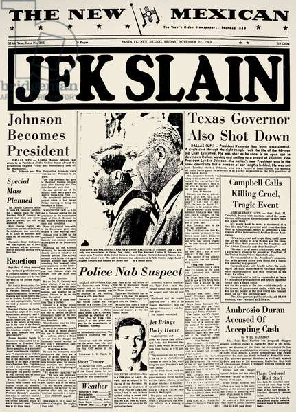 KENNEDY ASSASSINATION, 1963 The banner headline from 'The New Mexican' (Santa Fe, New Mexico) of 23 November 1963 announcing the assassination of President John Fitzgerald Kennedy.