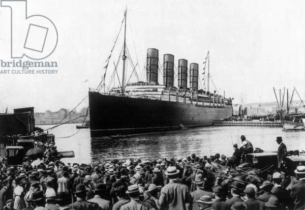 NEW YORK: LUSITANIA, 1907 The Cunard steamship 'Lusitania' at New York Harbor, 13 September 1907.