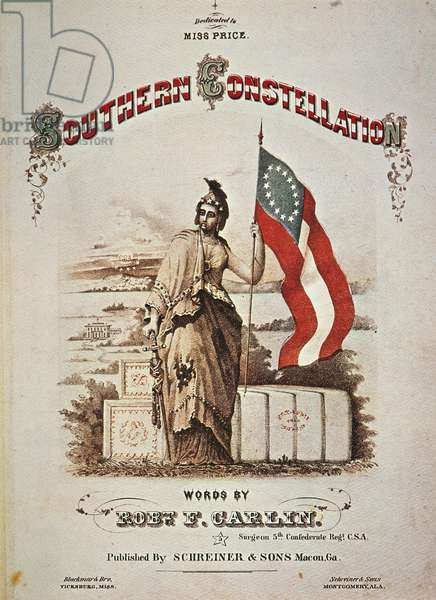 SOUTHERN SONGSHEET, 1860s Southern Constellation: American Civil War lithograph sheet music cover, published at Macon, Georgia.