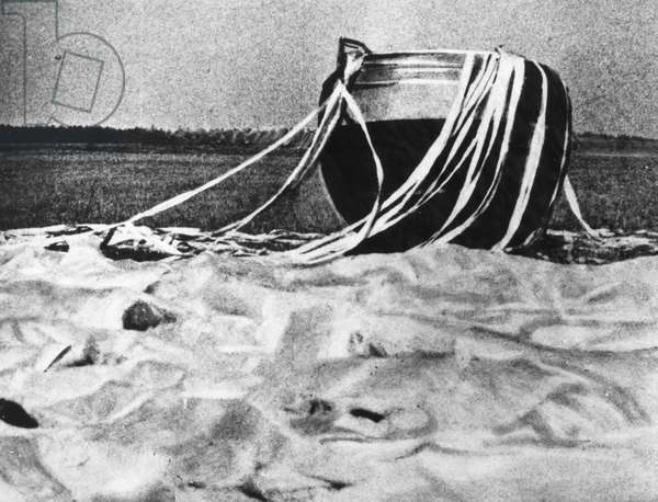 SPACE: VENUS 4, 1967 The Soviet spacecraft, Venus 4, after a parachute landing on Earth during tests before its journey to the planet Venus, 1967.
