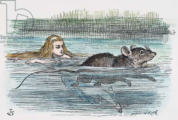 "DODGSON: ALICE, 1865 Alice swimming in the pool of her own tears with the mouse: after the design by Sir John Tenniel for the first edition, 1865, of Lewis Carroll's ""Alice's Adventures in Wonderland."""