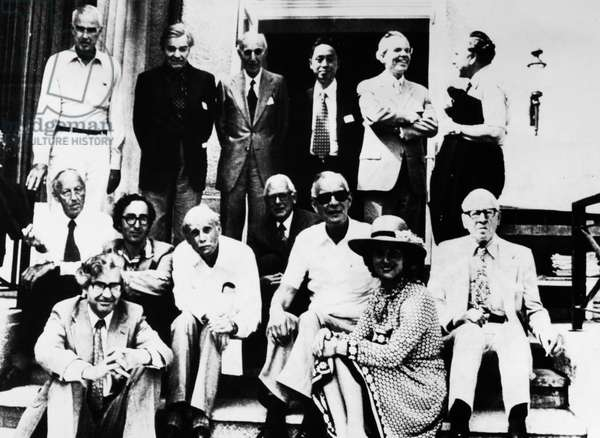 NOBEL PRIZE WINNERS, 1976 Prize winners from years past at a gathering at Lindau, West Germany, June 1976. Gunnar Myrdal of Sweden is second from left, standing.