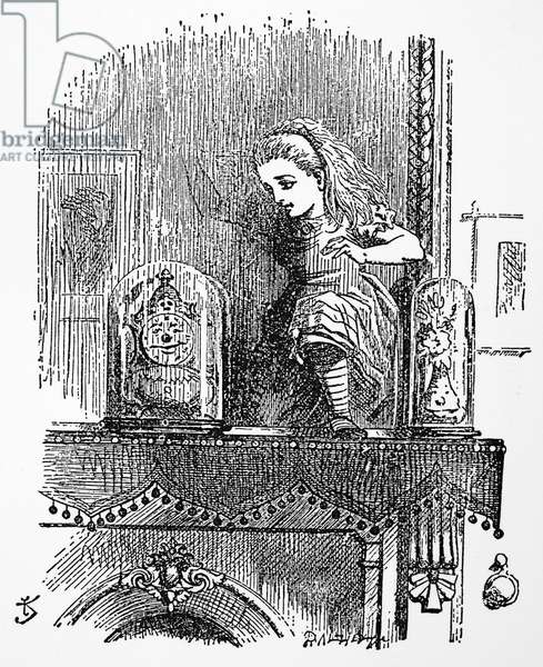 CARROLL: LOOKING GLASS Alice entering the Looking-Glass. Illustration by John Tenniel from the first edition of Lewis Carroll's 'Through the Looking Glass,' 1872.