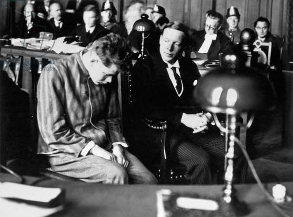 REICHSTAG FIRE TRIAL, 1933 Defendant Marinus Van der Lubbe being questioned during the Reichstag fire trial in Leipzig, Germany. Photograph, 1933.