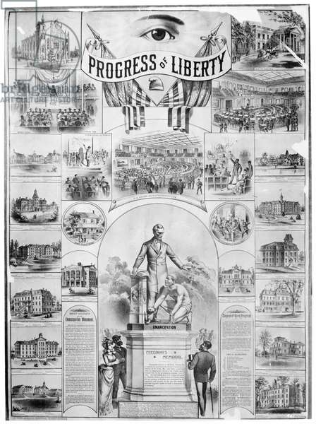 EMANCIPATION PROCLAMATION 'Progress of Liberty.' Lithograph, American, 1886.