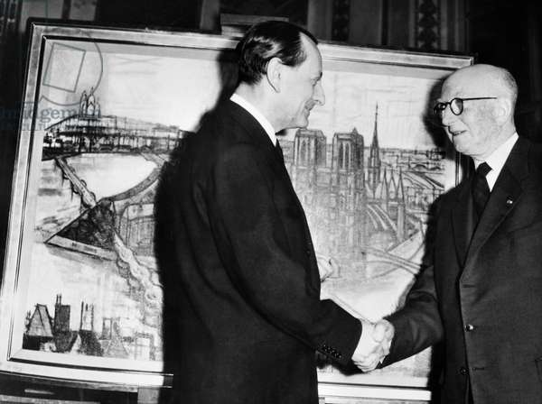 Andre Malraux and Marcel Gromaire at a reception at the Paris Ministry of Cultural Affairs, 19 March 1959 (b/w photo)