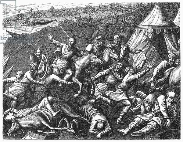 BATTLE OF ZENTA, 1697 The flight of the Turkish army after its defeat by an Austrian army at Zenta, in present day Serbia, 11 September 1697. Wood engraving, German, 19th century.