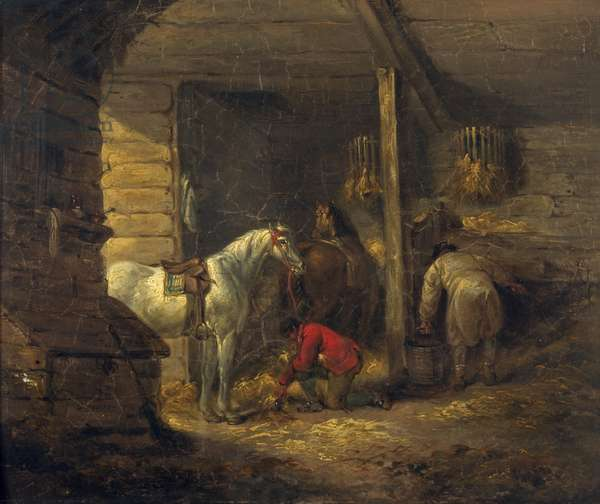 Stable Scene (oil on canvas)