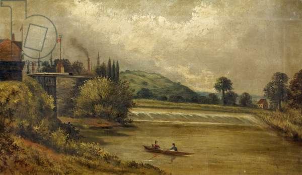 Llanthony Weir Gloucester, 1850-1900 (oil on canvas)