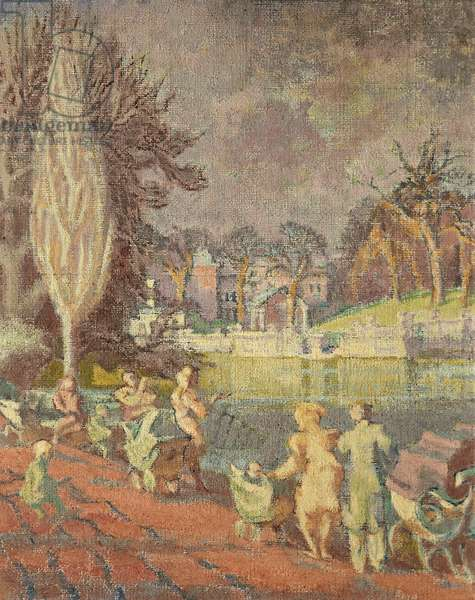 The Serpentine in Spring, Hyde Park, London (oil on canvas)