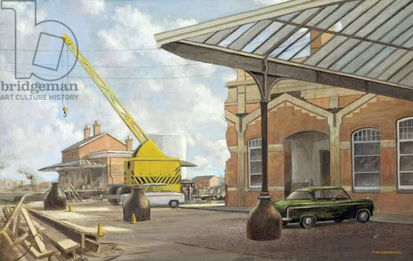 Last Days of the Old London, Midland & Scottish Station, Gloucester, 1975 (oil on canvas)