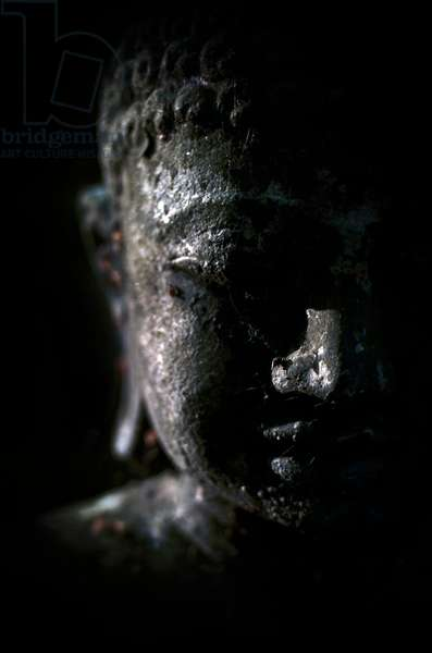 A Buddha statue in the garden of zen temple Ryumonji illuminated by the last sun rays of the day (photo)