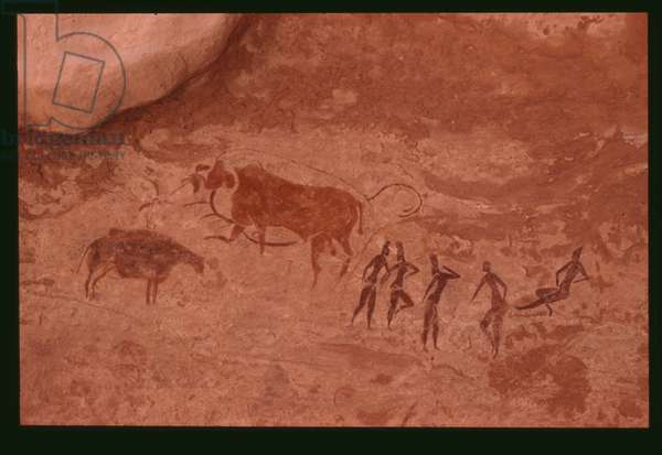 Cows and human figures (rock painting)