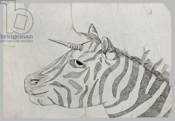 Zebra / Unicorn, 1943 (pen and ink on paper)