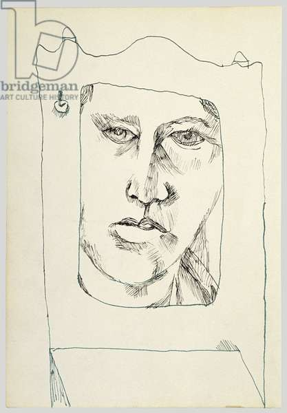 Self-Portrait in a Mirror, 1940 (ink on paper)
