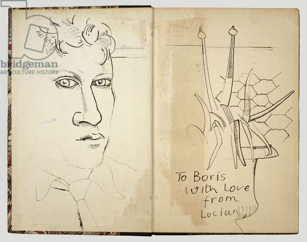 Untitled Drawings (Head and Plant), 1948 (ink on book page)