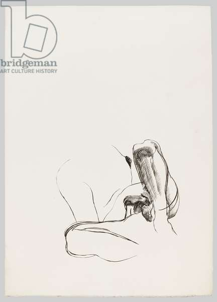 Drawing for Naked Man with Rat (lll), c.1977 (ink on paper)