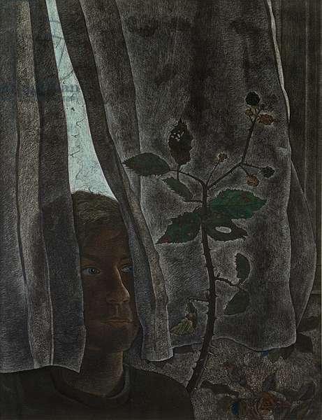 Interior Scene, 1948 (pastel & Conte crayon on paper)