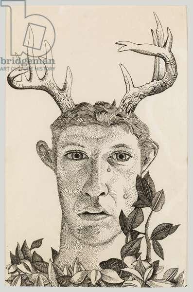 Self Portrait as Actaeon, 1949 (pen & ink on paper)