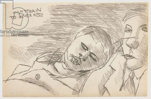 Night Train to Inverness, 1943 (pencil on paper)