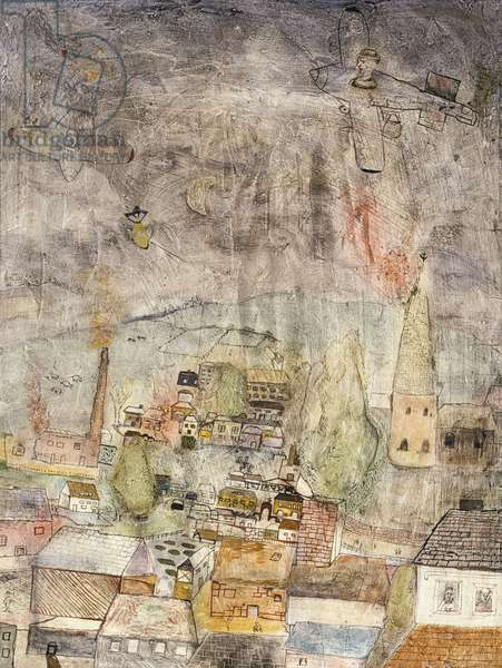Air Battle over a Village, c.1939 (oil, ink and pencil on board)