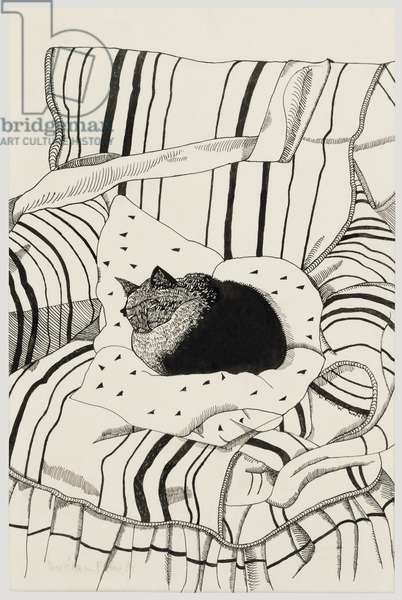 The Sleeping Cat, 1944 (ink & pencil on paper)