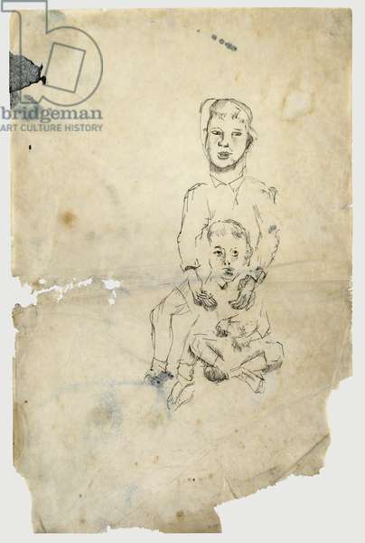 Two Boys, one sitting cross legged, 1941 (pen & ink on paper)