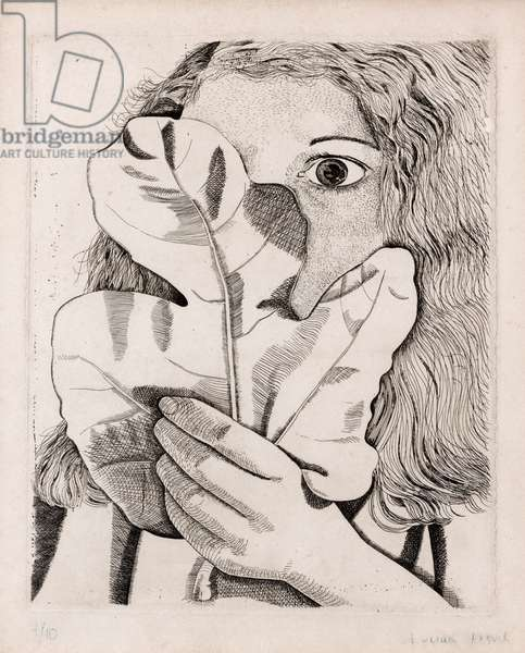 Girl with fig leaf, 1947 (etching on paper)