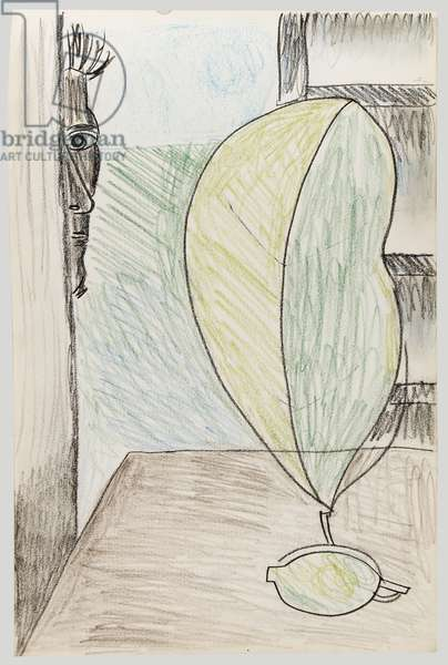 Greek Sketchbook: Still Life with Green Lemon, 1946-47 (crayon on paper)