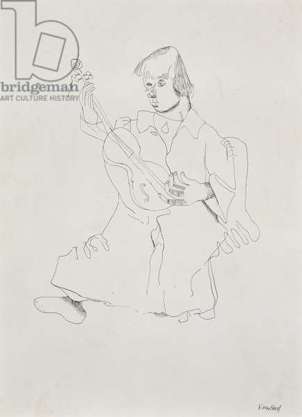 The Musician, 1940s (pen and ink on paper)