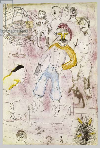 Page from a Sketchbook, 1941 (ink and crayon on paper)