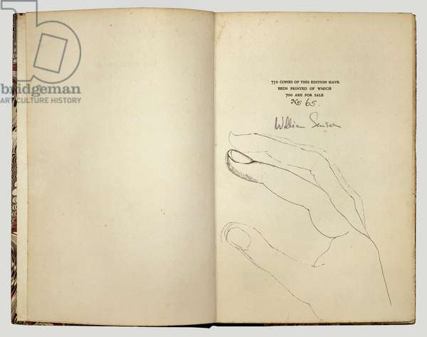 Untitled Drawing (Hand), 1948 (ink on book page)