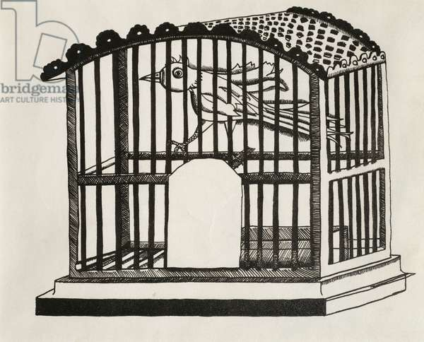 Bird in a Cage, 1946 (ink on paper)