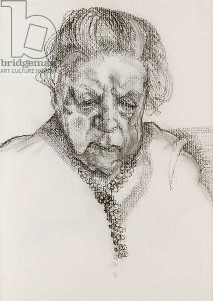 The Painter's Mother, 1983 (charcoal & pastel on paper)