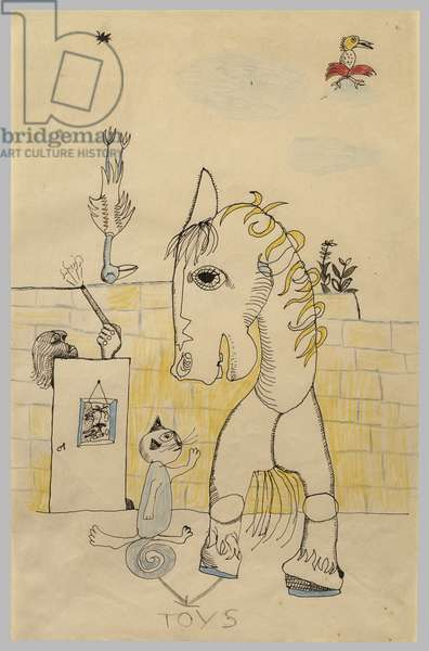 Unicorn (Toys), c.1942-43 (pen & Indian ink with crayon or coloured pencil on paper)