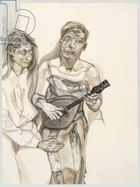 Two Figures from Large Interior W11 (after Watteau) 1983 (charcoal, turpentine & white crayon on paper)