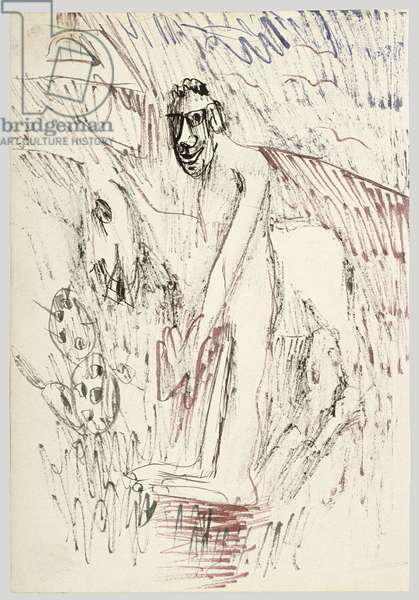 Man in a Landscape, 1940 (ink on paper)