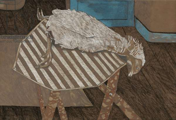 Chicken on a Bamboo Table, 1944 (pastel, conte & crayon on paper)
