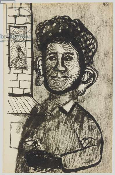 Man with Jug Ear (Self-portrait), 1943 (pen & ink and charcoal on paper)