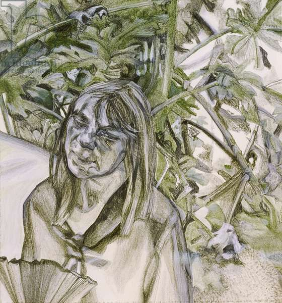 Woman with Geranium, from Large Interior W11 (after Watteau), 1983 (charcoal and pastel)