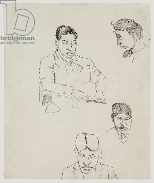 Untitled (Studies for Man Reading), c.1943 (ink on paper)