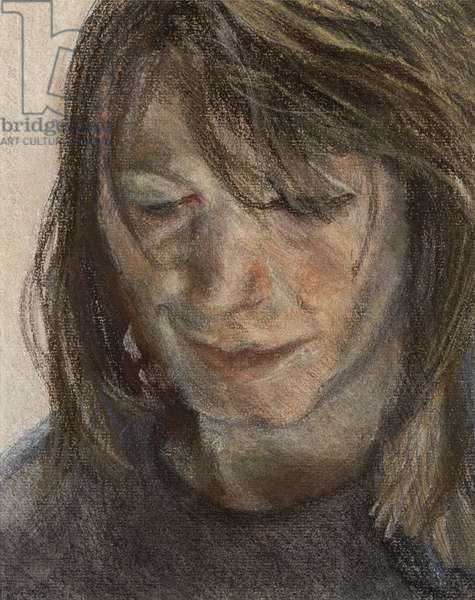 Head of a Woman, 1988 (pastel & charcoal on paper)