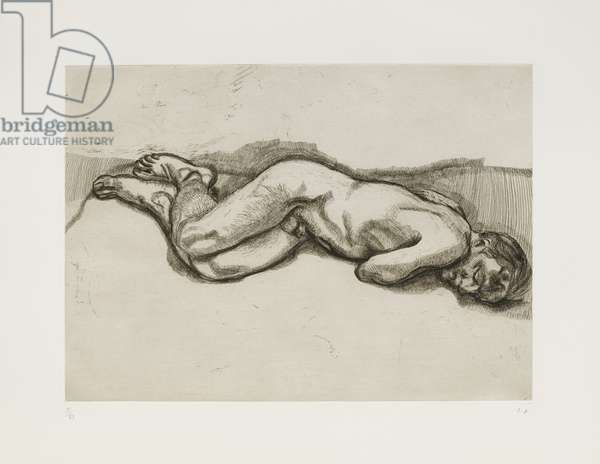 Naked Man on a Bed (State 1) 1987 (etching)