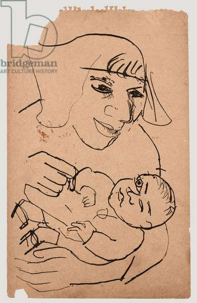 Mother and Baby, 1949 (pen & ink on brown paper)