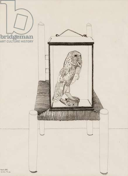 Untitled (Interior Drawing of an Owl) 1945 (pen & ink on paper)