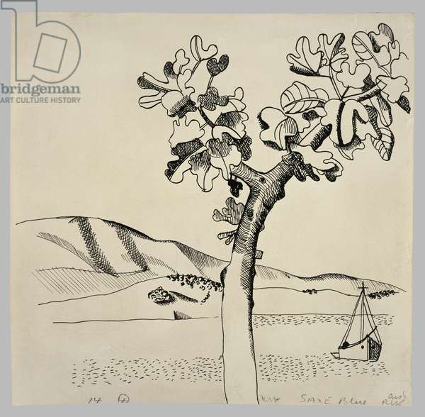 Landscape with Fig Tree and Boat, 1947 (pen on paper)