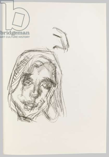 Head of Emily, c.2000 (charcoal on paper)