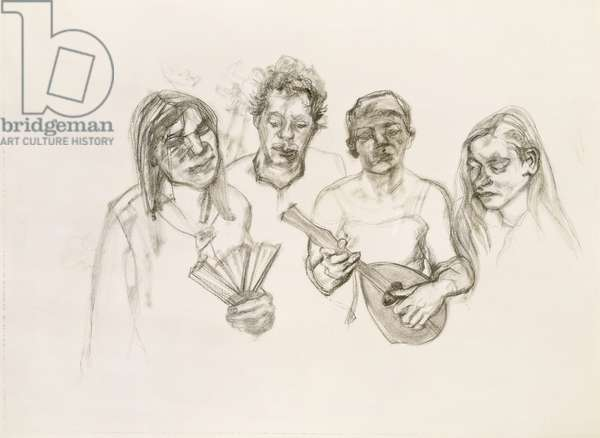 Four Heads from Large Interior W11 (after Watteau), 1983 (charcoal)